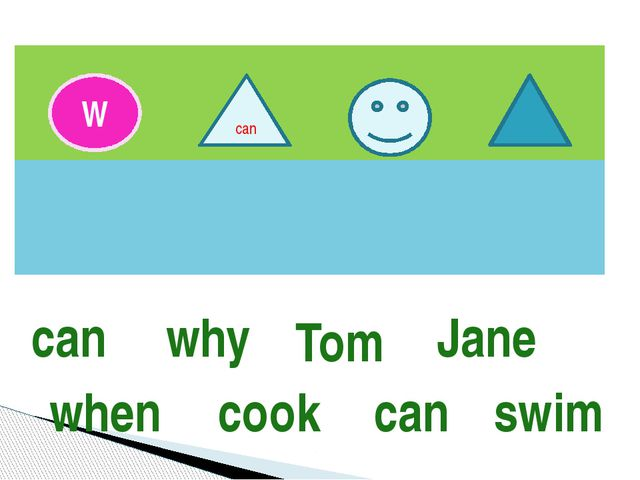 W can can why Tom Jane when cook can swim