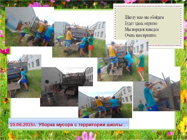 10.06.2015г. Уборка мусора с территории школы .