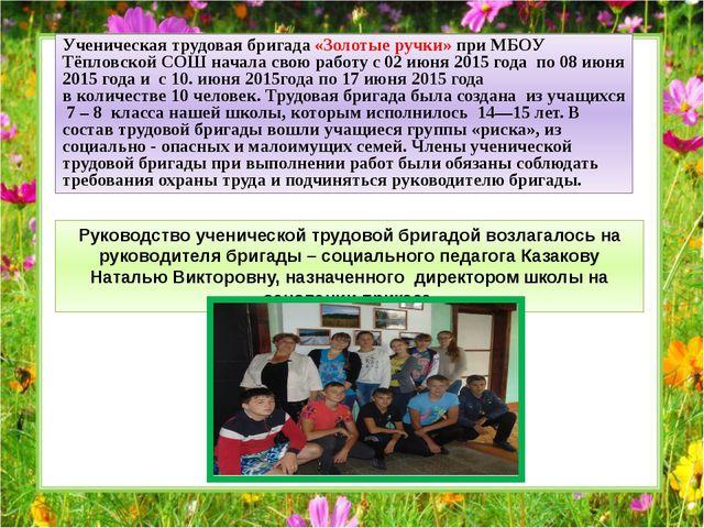 Ученическая трудовая бригада «Золотые ручки» при МБОУ Тёпловской СОШ начала...