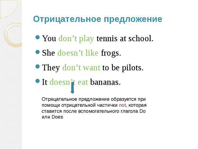 Отрицательное предложение You don't play tennis at school. She doesn't like f...