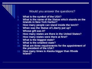 Would you answer the questions? What is the symbol of the USA? What is the na