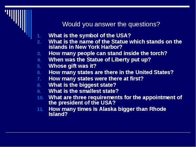 Would you answer the questions? What is the symbol of the USA? What is the na...