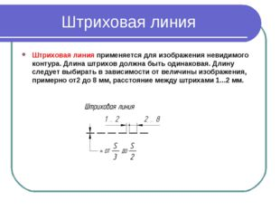 Штриховая линия Штриховая линияприменяется для изображения невидимого контур