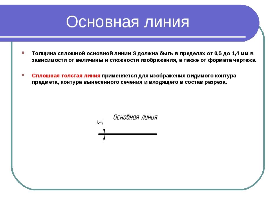 Основная линия Толщина сплошной основной линииSдолжна быть в пределах от0,...