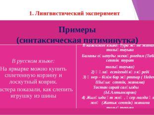 1. Лингвистический эксперимент