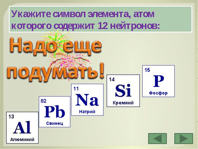 Укажите символ элемента, атом которого содержит 12 нейтронов: