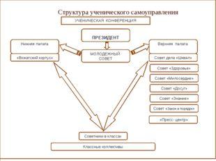 Структура ученического самоуправления ПРЕЗИДЕНТ Совет дела «Шквал» МОЛОДЕЖНЫЙ