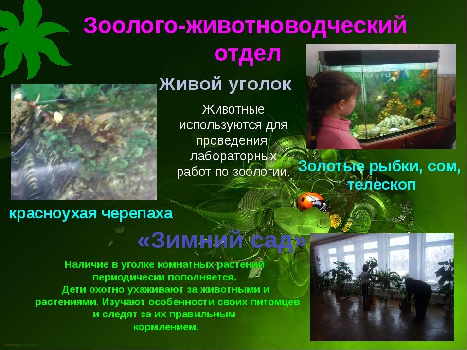 Зоолого-животноводческий отдел Живой уголок Животные используются для проведе...