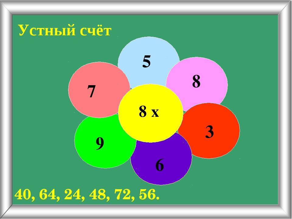 Устный счёт 5 8 3 6 9 7 8 х 40, 64, 24, 48, 72, 56.