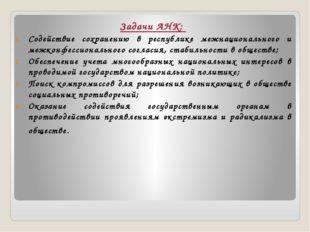 Задачи АНК: Содействие сохранению в республике межнационального и межконфесси