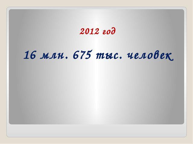 2012 год 16 млн. 675 тыс. человек