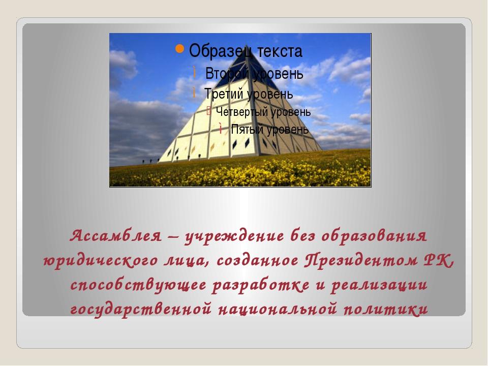 Ассамблея – учреждение без образования юридического лица, созданное Президен...