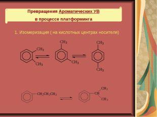 Превращения Ароматических УВ в процессе платформинга 1. Изомеризация ( на кис