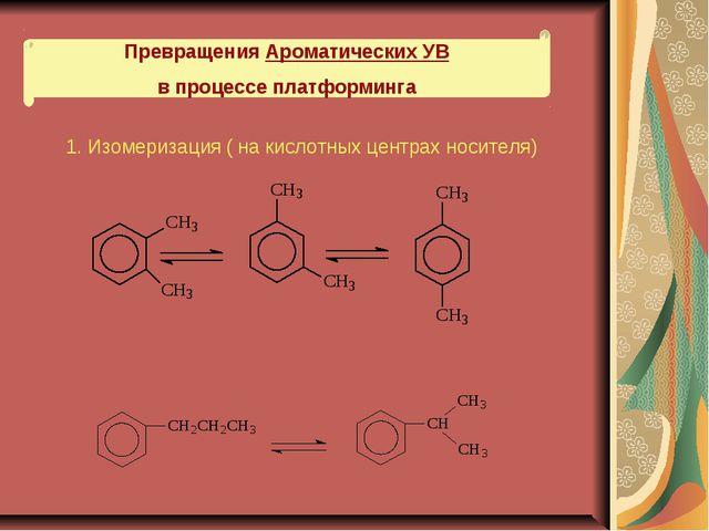 Превращения Ароматических УВ в процессе платформинга 1. Изомеризация ( на кис...