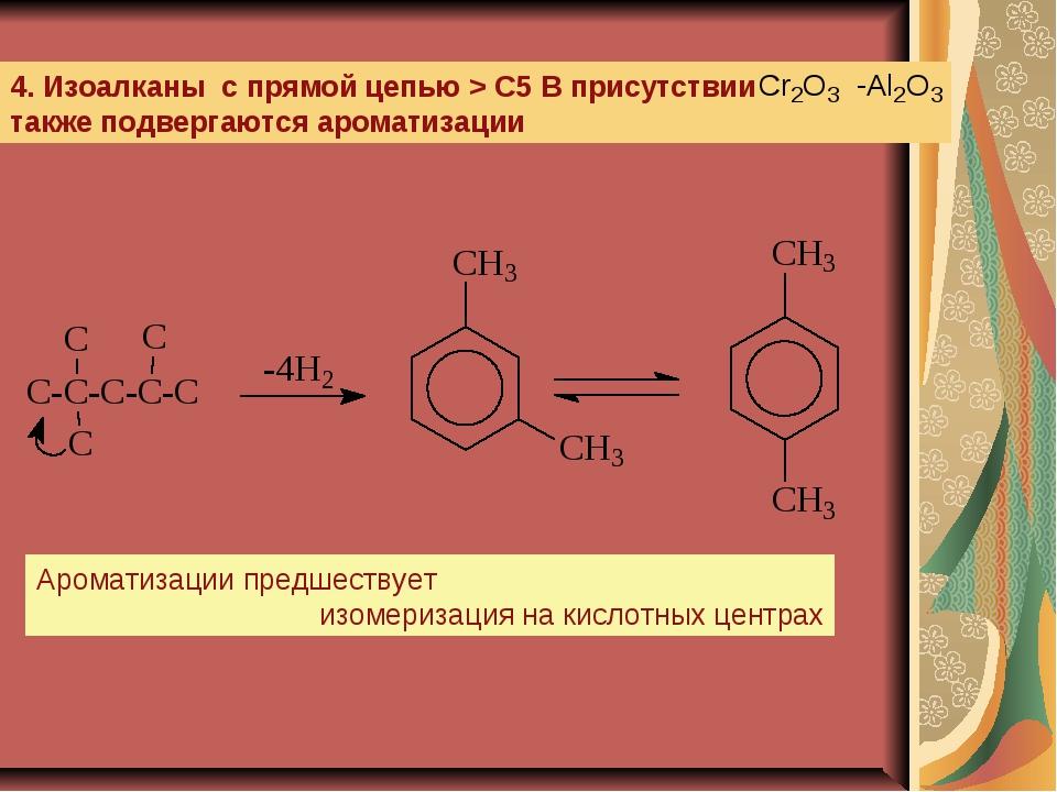 4. Изоалканы с прямой цепью > C5 В присутствии также подвергаются ароматизаци...
