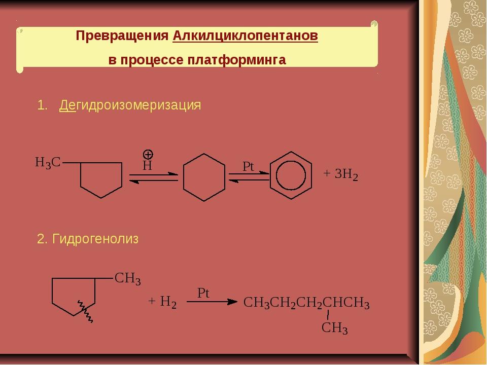 Превращения Алкилциклопентанов в процессе платформинга 1. Дегидроизомеризация...