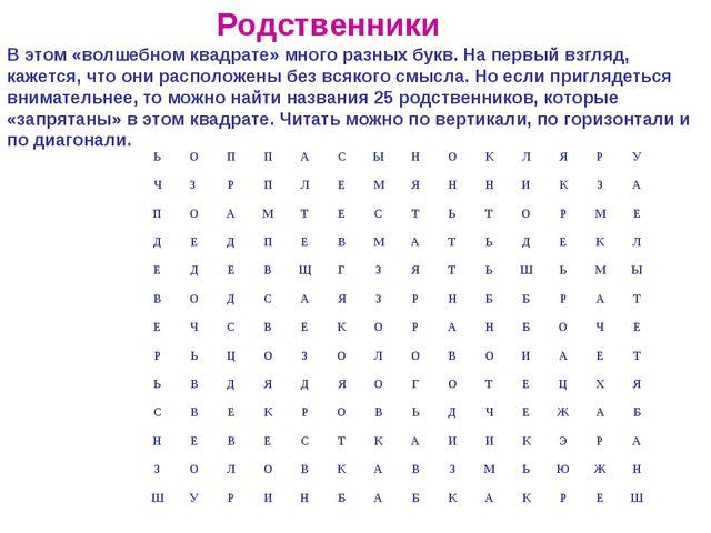 В этом «волшебном квадрате» много разных букв. На первый взгляд, кажется, что...