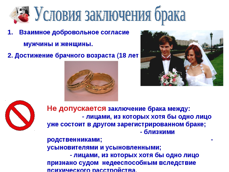 Взаимное добровольное согласие мужчины и женщины. 2. Достижение брачного возр...