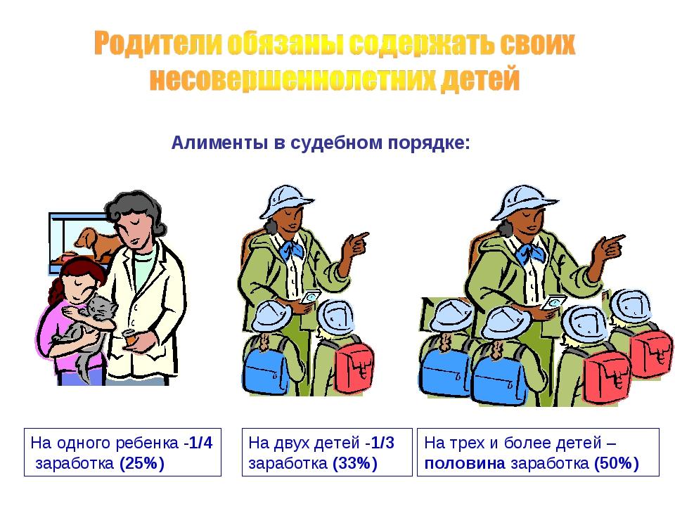На одного ребенка -1/4 заработка (25%) На двух детей -1/3 заработка (33%) На...
