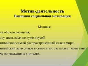 Мотив-деятельность Внешняя социальная мотивация Мотивы: Для общего развития;