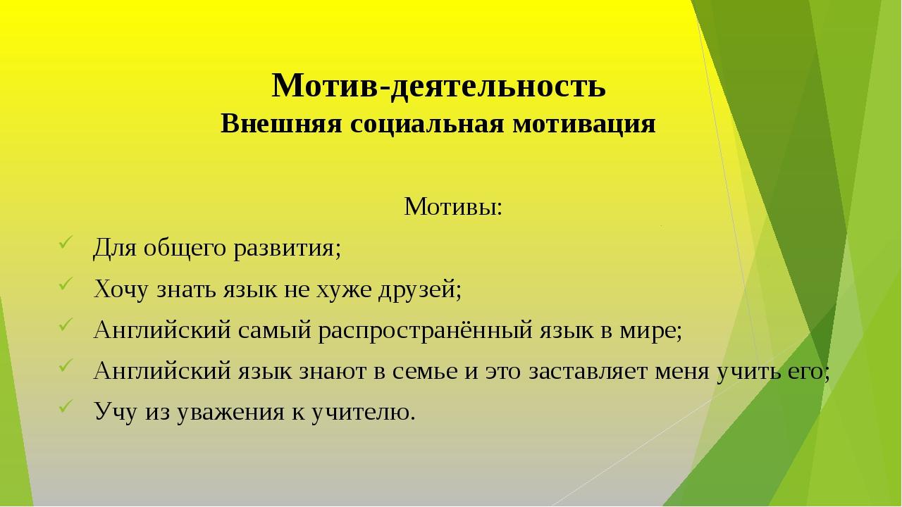 Мотив-деятельность Внешняя социальная мотивация Мотивы: Для общего развития;...