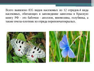 Всего выявлено 835 видов насекомых из 12 отрядов.4 вида насекомых, обитающих