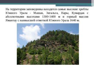 На территории заповедника находятся самые высокие хребты Южного Урала - Машак