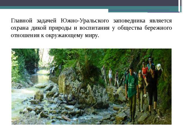 Главной задачей Южно-Уральского заповедника является охрана дикой природы и...
