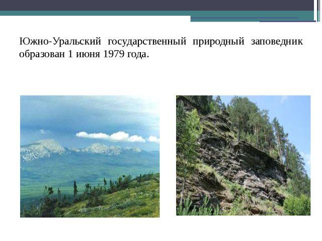 Южно-Уральский государственный природный заповедник образован 1 июня 1979 го...