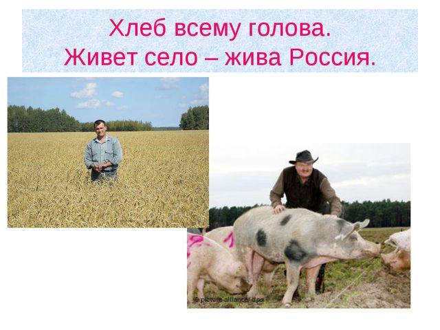 Хлеб всему голова. Живет село – жива Россия.