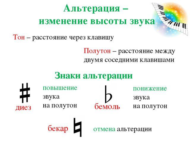 Альтерация – изменение высоты звука Знаки альтерации Тон – расстояние через к...
