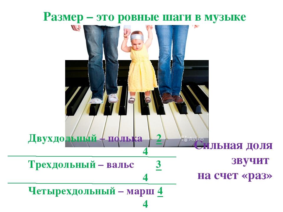 Размер – это ровные шаги в музыке Двухдольный – полька 2 4 Трехдольный – валь...