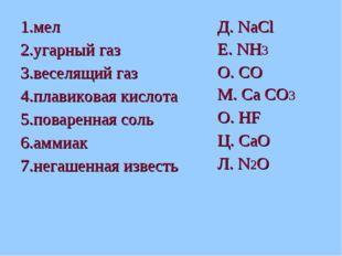 1.мел 2.угарный газ 3.веселящий газ 4.плавиковая кислота 5.поваренная соль 6.