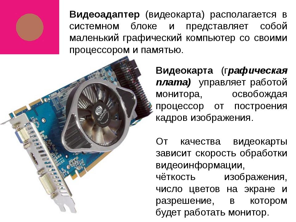 Видеоадаптер (видеокарта) располагается в системном блоке и представляет собо...