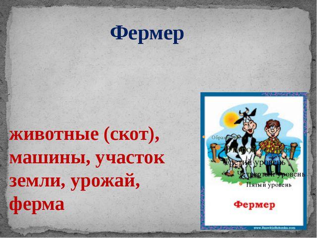 животные (скот), машины, участок земли, урожай, ферма Фермер