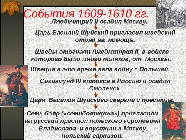 События 1609-1610 гг. Лжедмитрий II осадил Москву. Царь Василий Шуйский пригл...