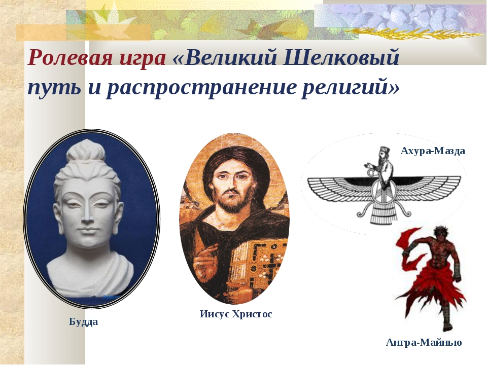 Ролевая игра «Великий Шелковый путь и распространение религий» Будда Иисус Хр...