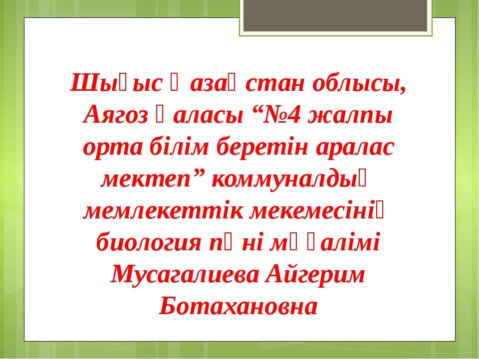 """Шығыс Қазақстан облысы, Аягоз қаласы """"№4 жалпы орта білім беретін аралас мект..."""