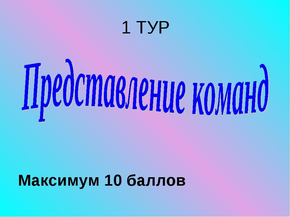 1 ТУР Максимум 10 баллов