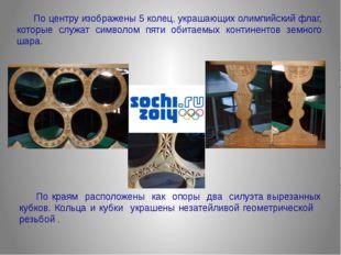 По центру изображены 5 колец, украшающих олимпийский флаг, которые служат с