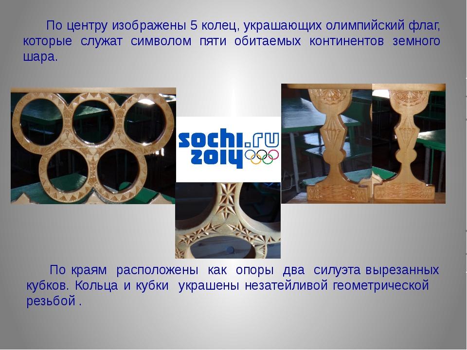По центру изображены 5 колец, украшающих олимпийский флаг, которые служат с...