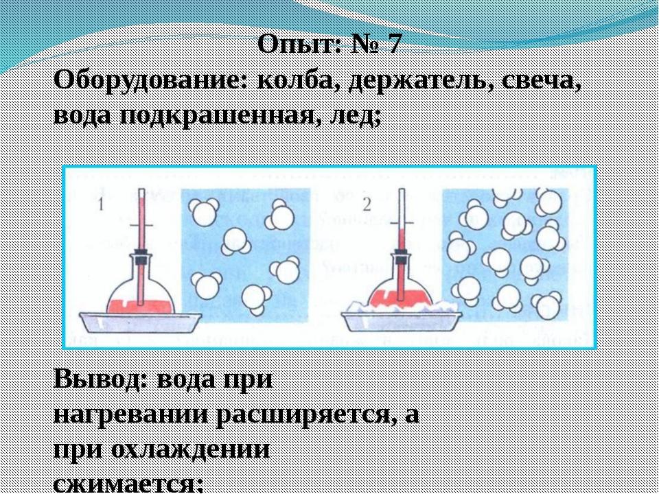 Опыт: № 7 Оборудование: колба, держатель, свеча, вода подкрашенная, лед; Выво...