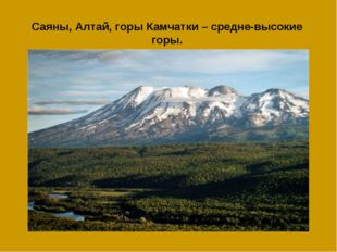 Саяны, Алтай, горы Камчатки – средне-высокие горы.