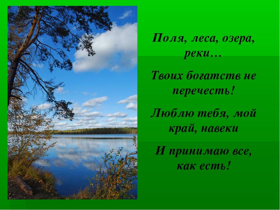 Поля, леса, озера, реки… Твоих богатств не перечесть! Люблю тебя, мой край, н...