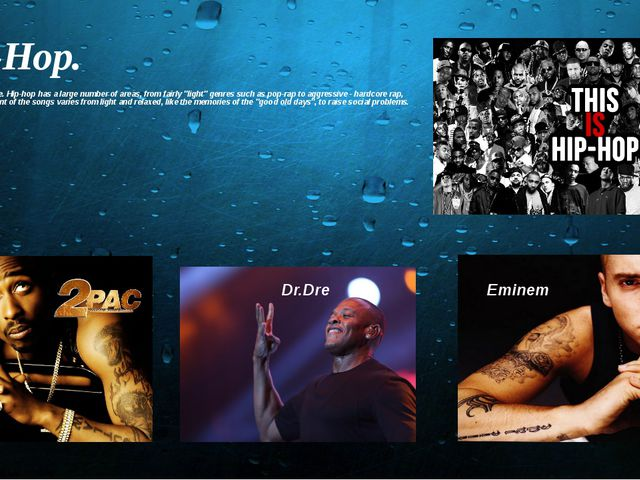 Hip-Hop. Hip-Hop musical genre. Hip-hop has a large number of areas, from fai...