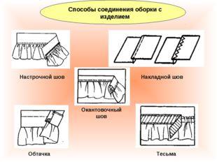 Способы соединения оборки с изделием Настрочной шов Накладной шов Обтачка Тес