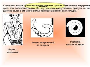 Воланы К изделию волан притачивают внутренним срезом. Чем меньше внутренний с