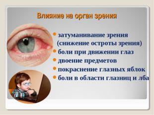Влияние на орган зрения затуманивание зрения (снижение остроты зрения) боли п