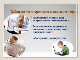 Заболевания опорно-двигательного аппарата нарушений осанки или искривления по