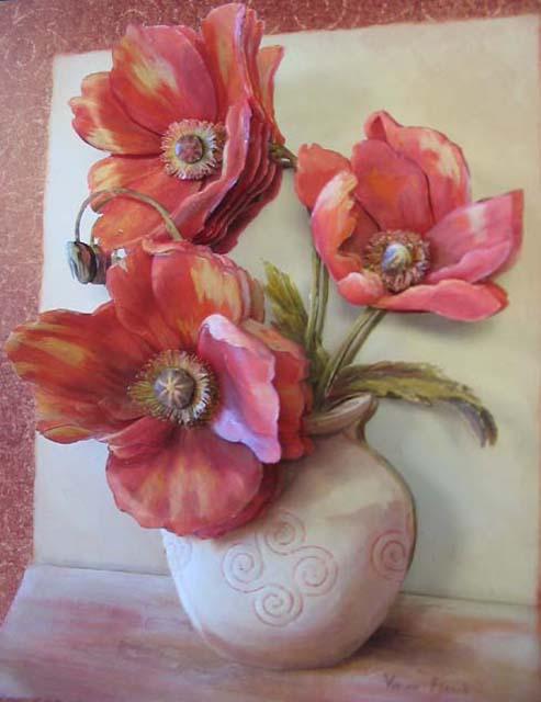 Объемный декупаж - красные цветы